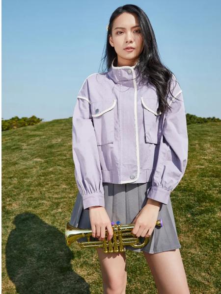 麦寻女装品牌2021春夏立领紫色外套