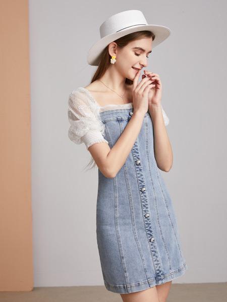 城市衣柜女�b品牌2021春夏H�I牛仔�B衣裙