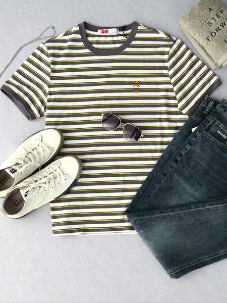 USHI男装品牌2021春夏条纹体恤