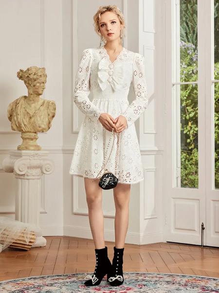斐格思女装品牌2021春夏纯色雪纺连衣裙