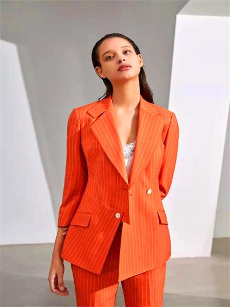 IF.UFLH女装品牌2021春夏橙色条纹西装套