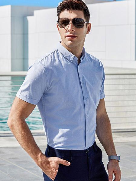 乔治邦尼男装品牌2021春夏蓝色衬衫