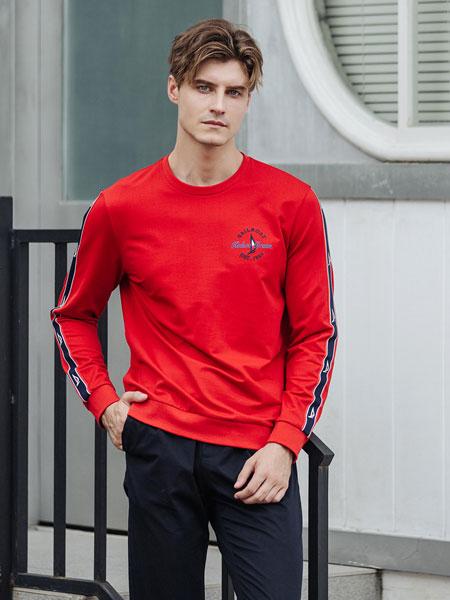 卡度尼男装品牌2021春夏红色T恤