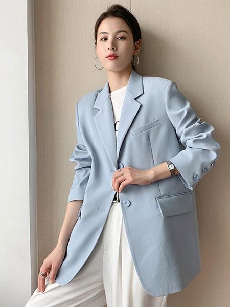 珂希莉女装品牌2021春夏蓝色西装外套