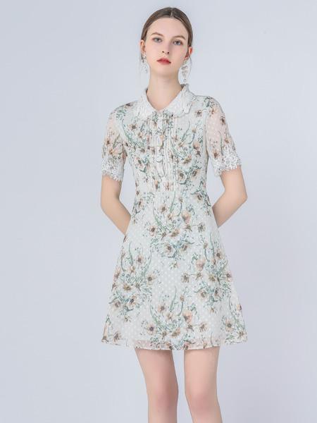 红凯贝尔女装品牌2021春夏小清新翻领连衣裙