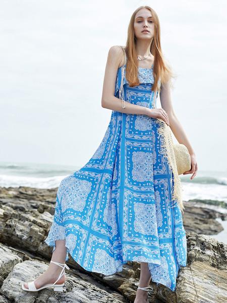 E+vonuol我的私人衣橱女装品牌2021春夏无袖蓝色长裙