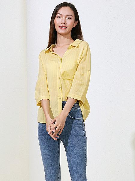 曈行女装品牌2021春夏黄色排扣衬衫