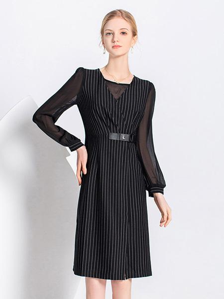 爱弗瑞女装品牌2021春夏条纹雪纺连衣裙