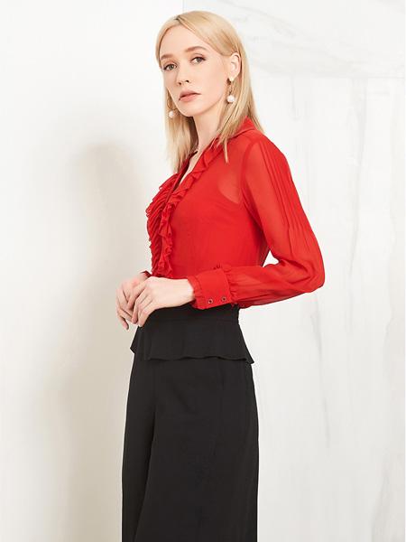 爱弗瑞女装品牌2021春夏红色雪纺上衣