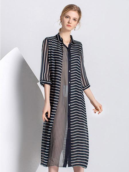 爱弗瑞女装品牌2021春夏条纹中袖大衣
