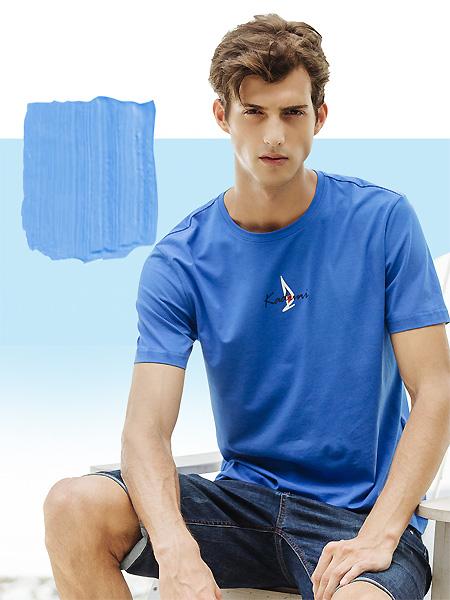 卡度尼男装品牌2021春夏深蓝色运动T恤