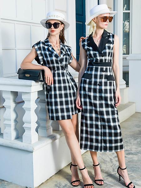 例格女装品牌2021春夏格子西装连衣裙