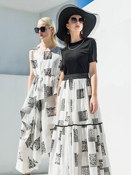 例格女装品牌2021春夏印花时尚无袖长裙