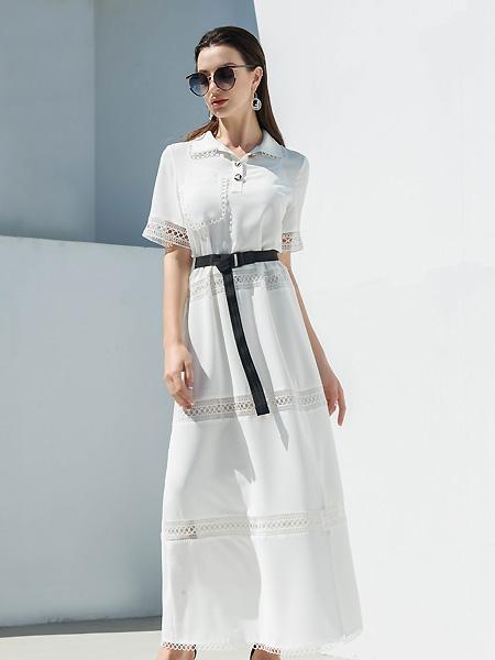 例格女装品牌2021春夏中袖小清新减龄长裙