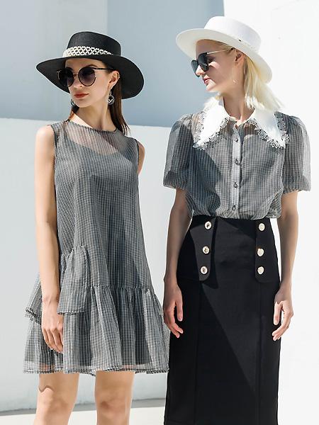 例格女装品牌2021春夏无袖雪纺连衣裙