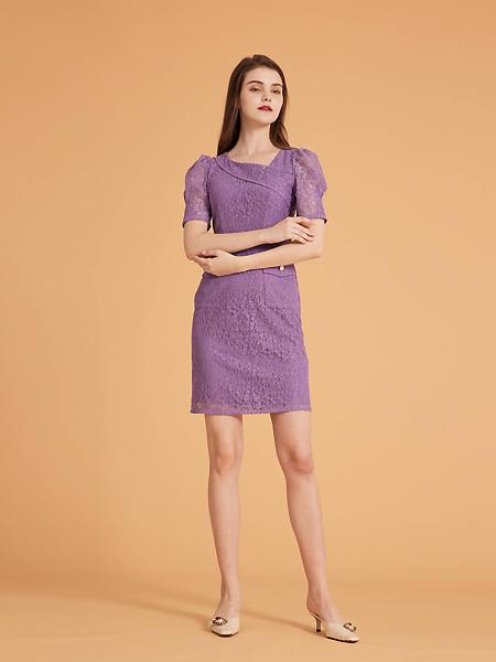 集娴女装品牌2021春夏紫色优雅连衣裙