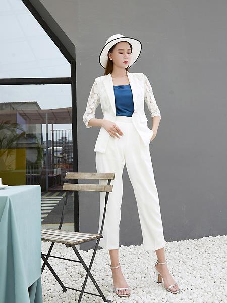 E+vonuol我的私人衣橱女装品牌2021夏白色西装套