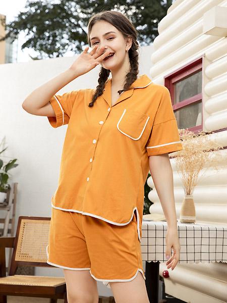 卓娅佳人内衣品牌2021春夏橙色翻领睡衣套