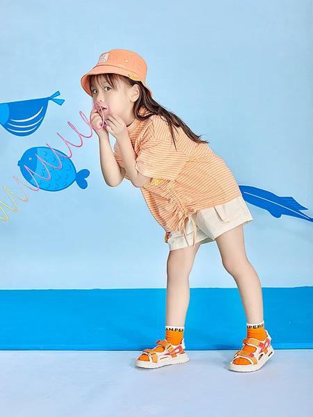 宝贝传奇童装品牌2021春夏橙色条纹宽松上衣