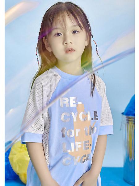 宝贝传奇童装品牌2021春夏撞色印字母中袖T恤
