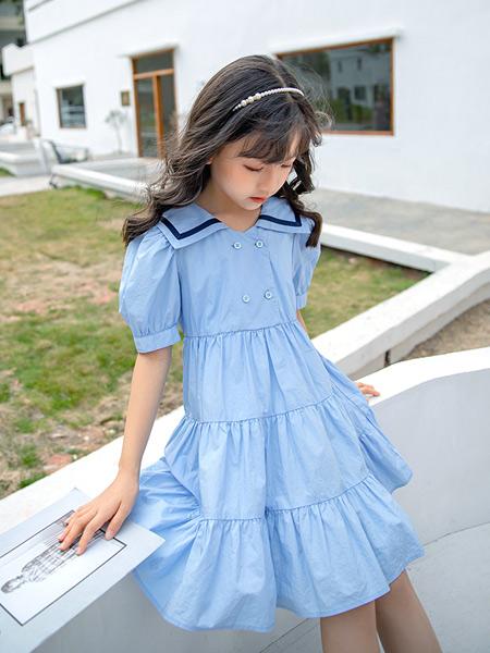 淘气贝贝童装品牌2021春夏气质蓝色治愈微褶连衣裙