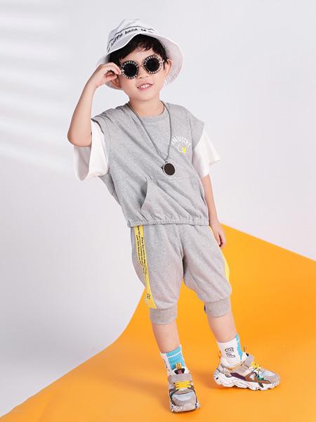 淘气贝贝童装品牌2021春夏韩式运动短款套装