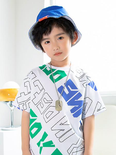淘气贝贝童装品牌2021春夏印字母潮流T恤