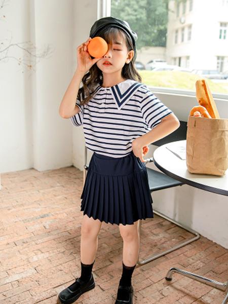 淘气贝贝童装品牌2021春夏学院风条纹上衣
