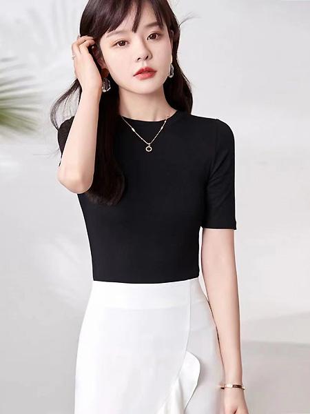 歌米裳女装品牌2021春中袖短装上衣