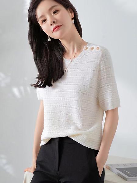 歌米裳女装品牌彩38平台2021春夏白色中袖温婉风上衣