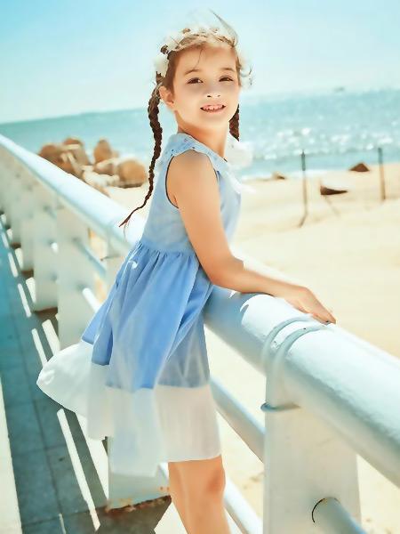 水孩儿童装品牌2021春夏无袖蓝色连衣裙