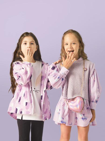 水孩儿童装品牌2021春夏粉色印花外套