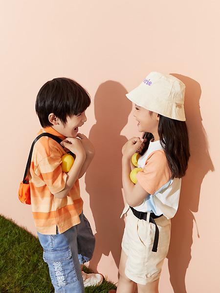 小猪班纳童装品牌2021夏季条纹翻领T恤