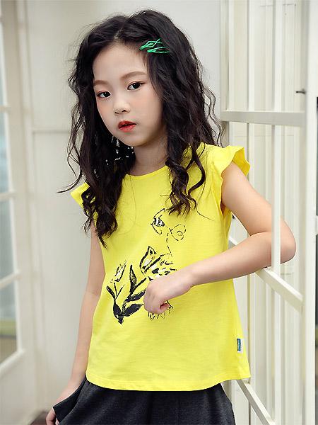 蒙蒙摩米 mesamis童装品牌2021夏季黄色荷叶无袖活力上衣