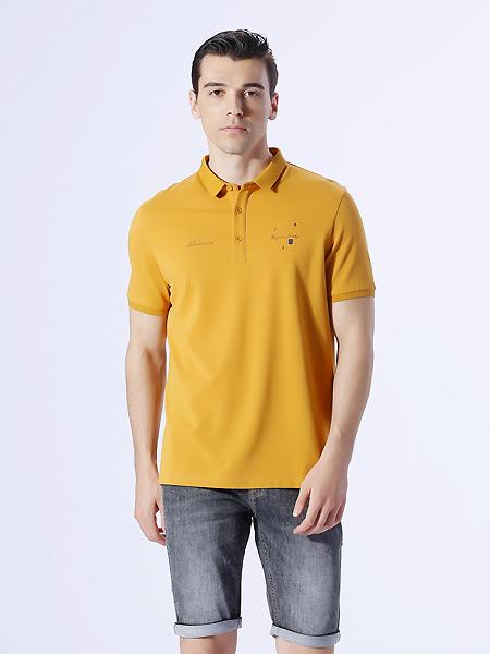 恩咖男装品牌2021夏季橙黄色翻领T恤