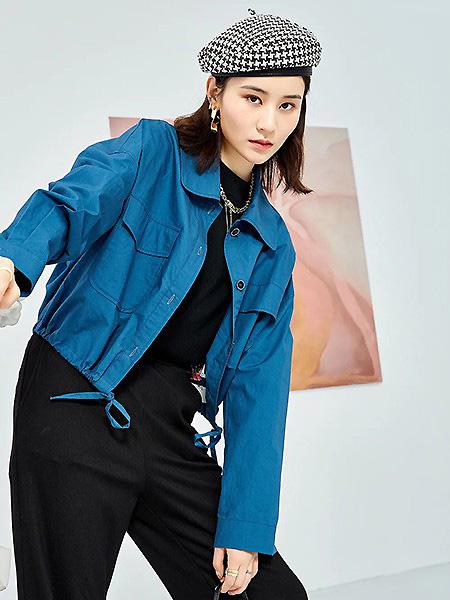 觅恋女装品牌2021蓝色收腰衬衣