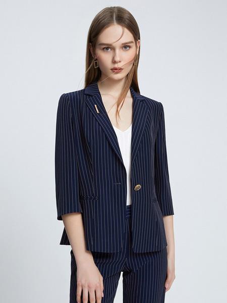 朗姿女装品牌2021春夏条纹蓝色西装外套