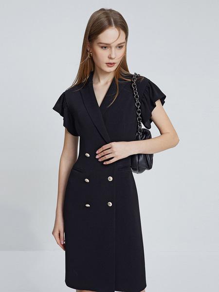 朗姿女装品牌2021春夏V领修身时尚黑色连衣裙