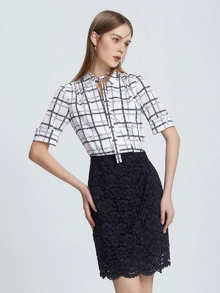 朗姿女装品牌2021春夏格子中袖时尚个性上衣