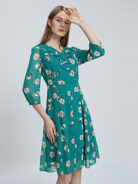 朗姿女装品牌2021春夏雪纺绿色中袖连衣裙