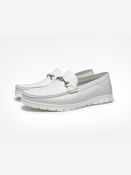 宾度鞋帽/领带品牌2021夏季白色休闲皮板鞋
