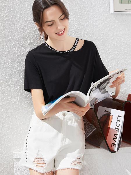 衣香丽影女装品牌2021夏季黑色时尚露肩上衣