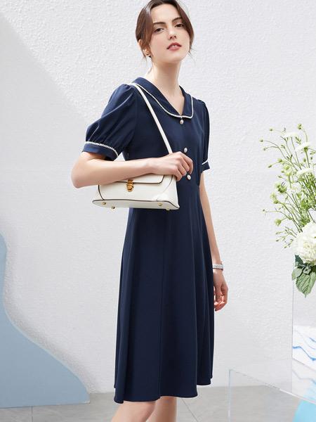 衣香丽影女装品牌2021夏季减龄学院风蓝色连衣裙