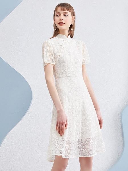 衣香丽影女装品牌2021夏季复古米色印花古改良旗袍