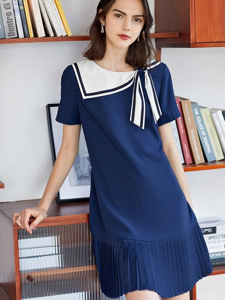 衣香丽影女装品牌2021夏季海军蓝设计感复古气质连衣裙