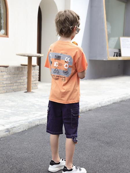 快乐精灵童装品牌2021夏季橙色活力T恤