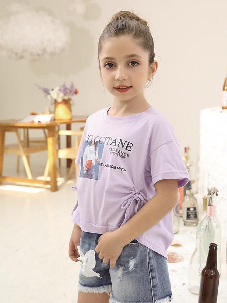 快乐精灵童装品牌2021夏季紫色收褶T恤