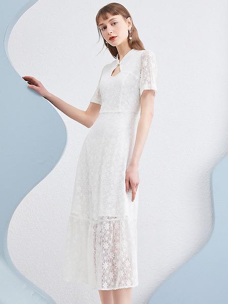 衣香丽影女装品牌2021夏季中国风白色蕾丝长裙