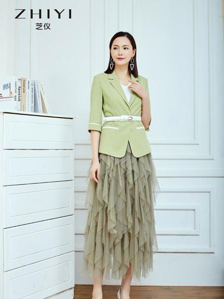 芝仪女装品牌2021夏季绿色OL风外套