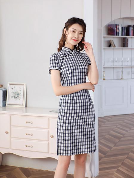 唐雅阁女装品牌2021夏季减龄格子改良旗袍